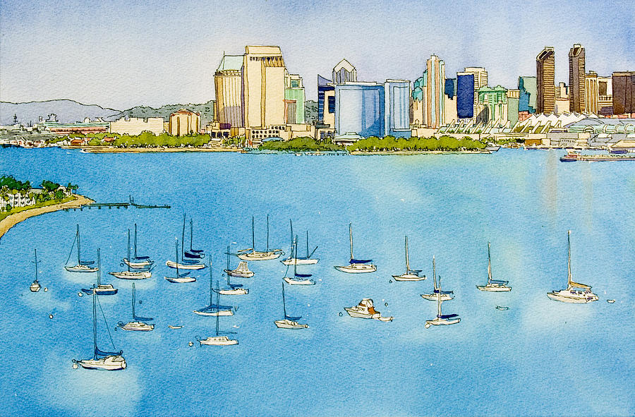 San Diego Painting - Sd Skyline Pen And Ink by Mary Helmreich