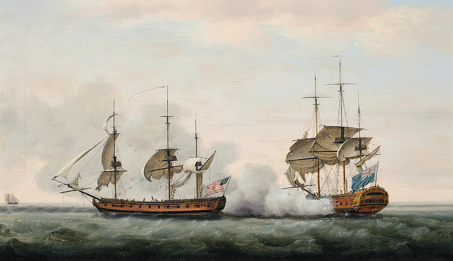Holman Painting - Sea Battle by Francis Holman