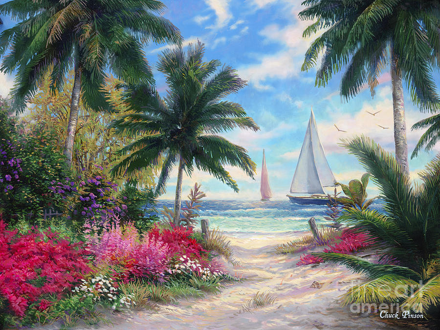Tropical Painting - Sea Breeze Trail by Chuck Pinson