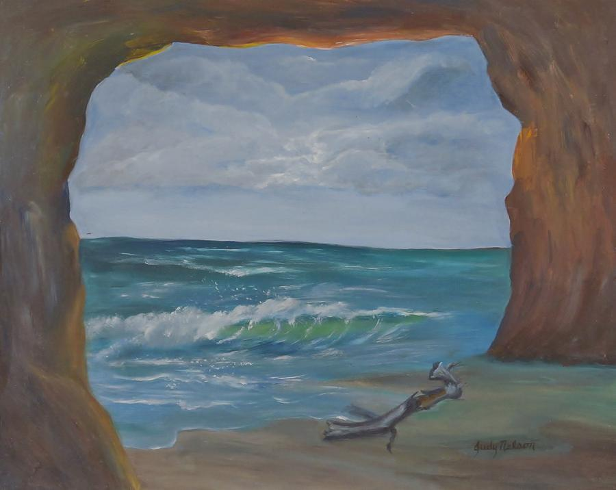 Sea Painting - Sea Cave by Judy Nelson