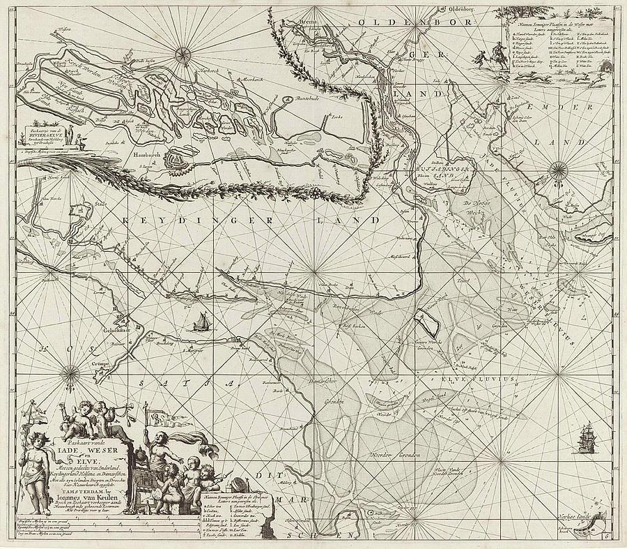 Cupids Painting - Sea Chart Of Part Of The Elbe, The Weser And Jadebusen by Jan Luyken And Johannes Van Keulen I