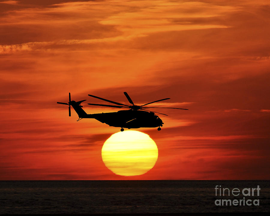 Helicopter Photograph - Sea Dragon Sunset by Al Powell Photography USA