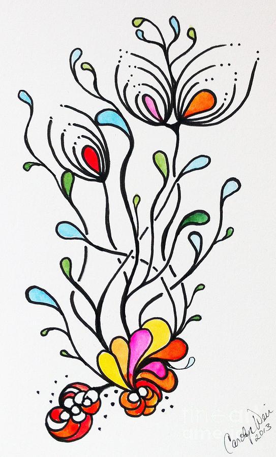 Ocean Painting - Sea Flowers by Carolyn Weir