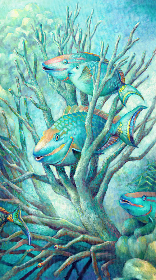 Under Water Painting - Sea Folk II - Parrot Fish by Nancy Tilles