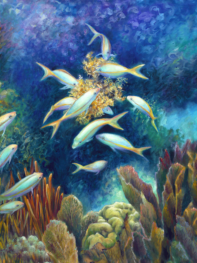 Journey Painting - Sea Food Chain - Feeding Frenzy by Nancy Tilles