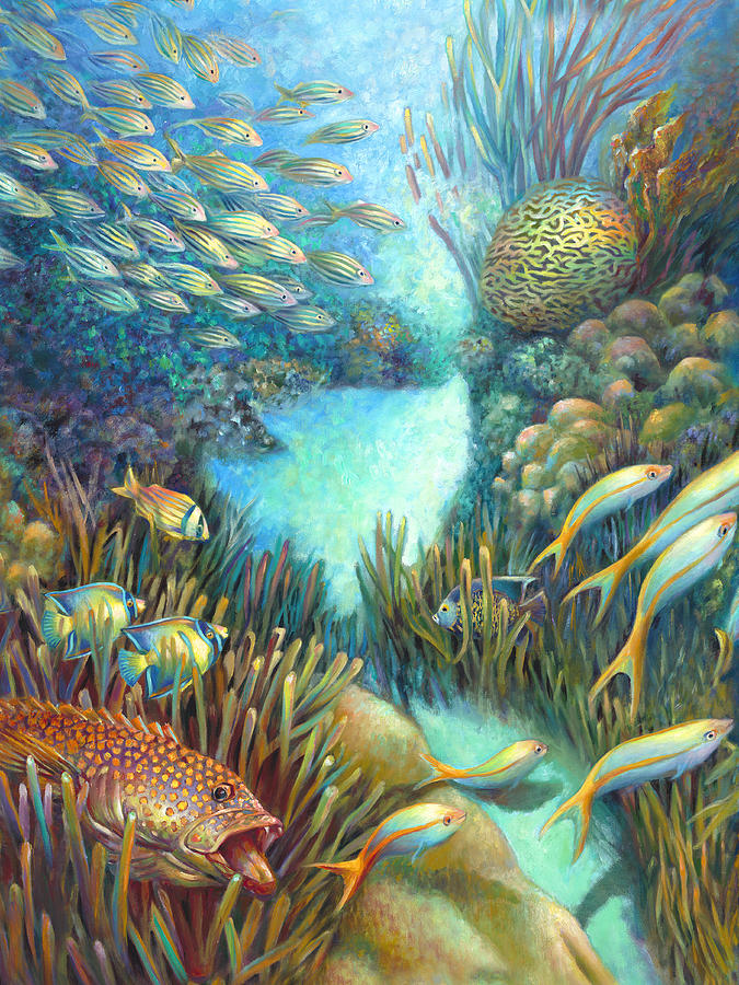 Journey Painting - Sea Food Chain - Stalker by Nancy Tilles