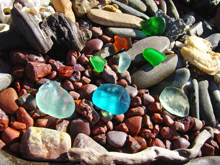 Seaglass Photograph - Sea Glass Art Prints Beach Seaglass by Baslee Troutman