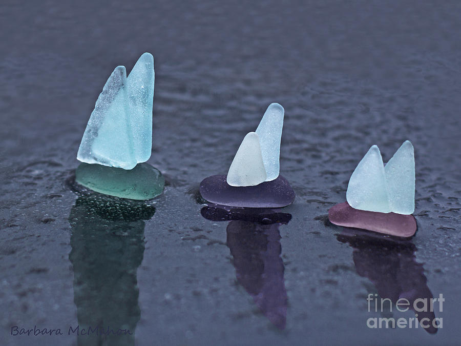 Sea Photograph - Sea Glass Flotilla by Barbara McMahon