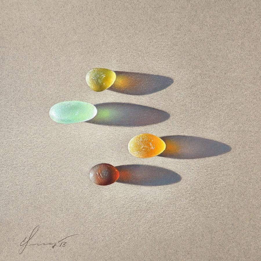 Sea Glass Pieces Drawing - Sea Glass - The Race by Elena Kolotusha