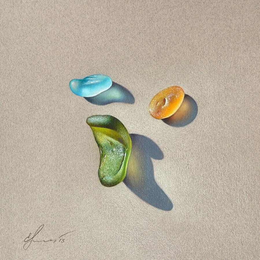 Sea Glass Drawing - Sea Glass - Trio by Elena Kolotusha