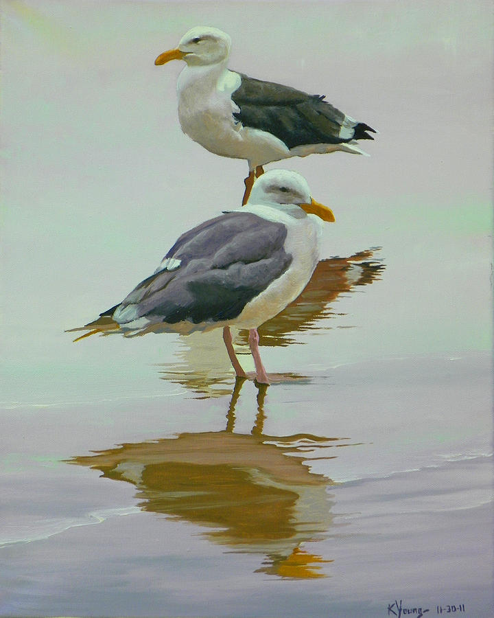 Birds Painting - Sea Gulls by Kenneth Young