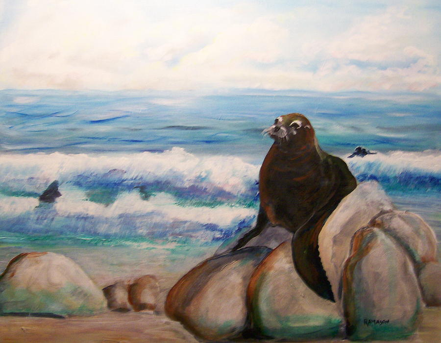 Sea Lion Painting by Rich Mason