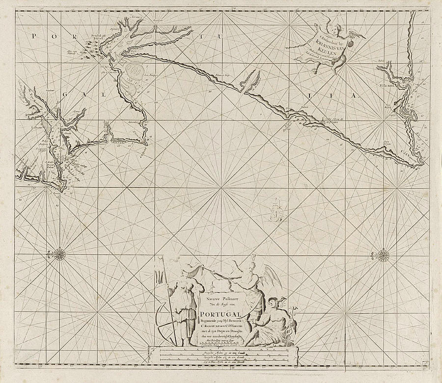 Sea Map Of Part Of The Coast Of Portugal Drawing By Jan Luyken And - Portugal map sea