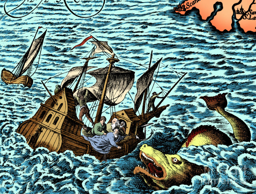 History Photograph - Sea Monster Attacking Ship, 1583 by Science Source