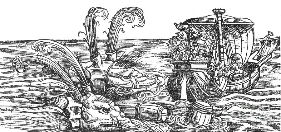 History Photograph - Sea Monsters Or Whales, 16th Century by Photo Researchers