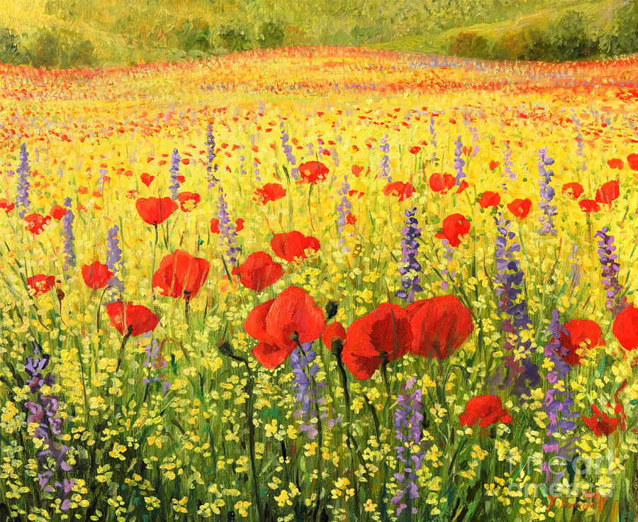 Agriculture Painting - Sea Of Blossom by Kiril Stanchev