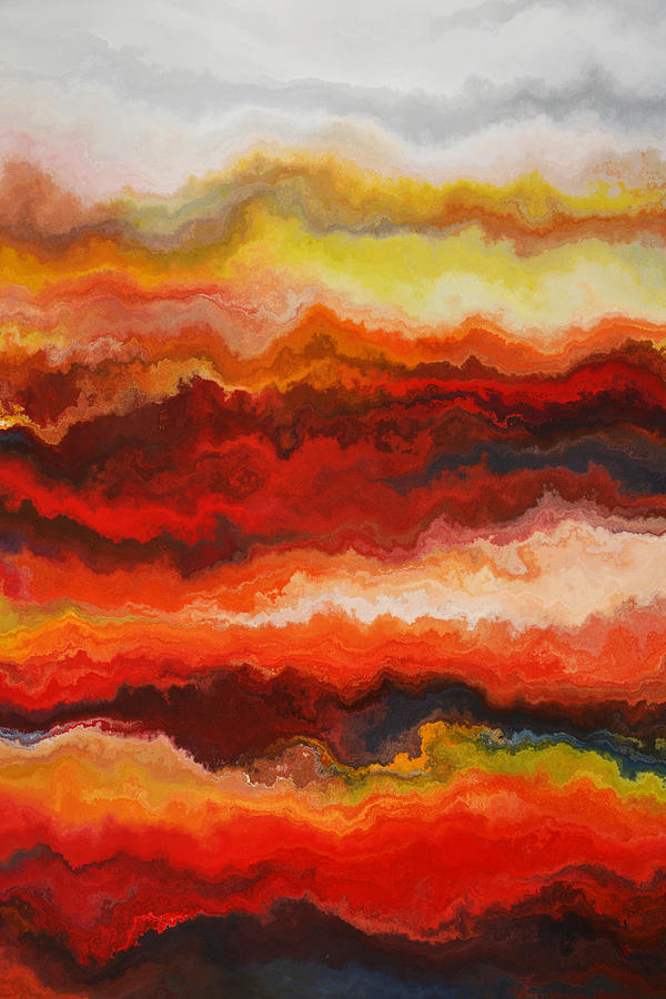 Red Painting - Sea Of Fire  by Andrada Anghel