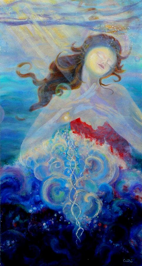 Sea Painting - Sea Of The Soul Figure Detail by Anne Cameron Cutri