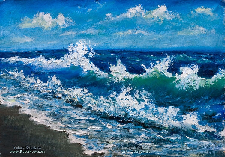 Sea Painting - sea oil painting The wind plays with the sea wave by Valery Rybakow