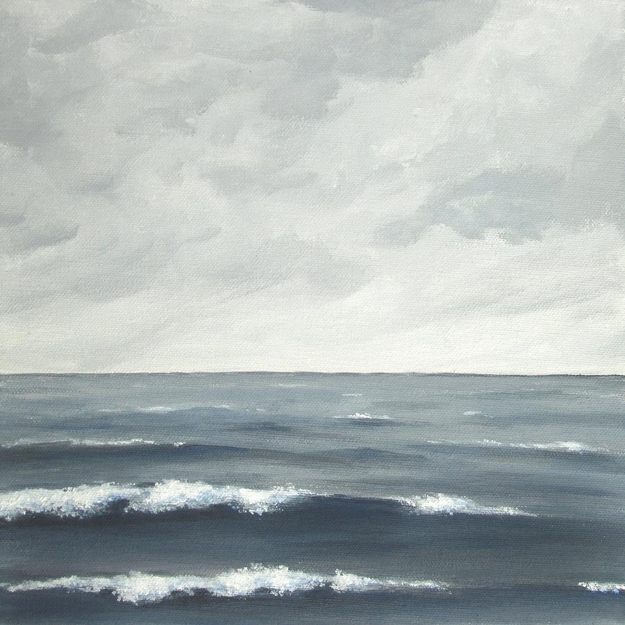 Seascape Painting - Sea On A Grey Day by Anna Bronwyn Foley