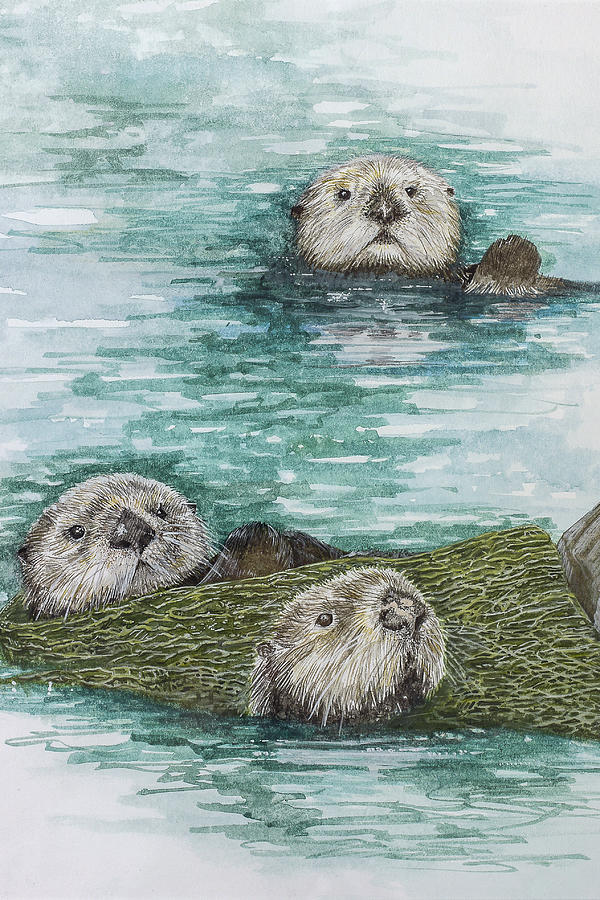 Sea Otters At Play Painting