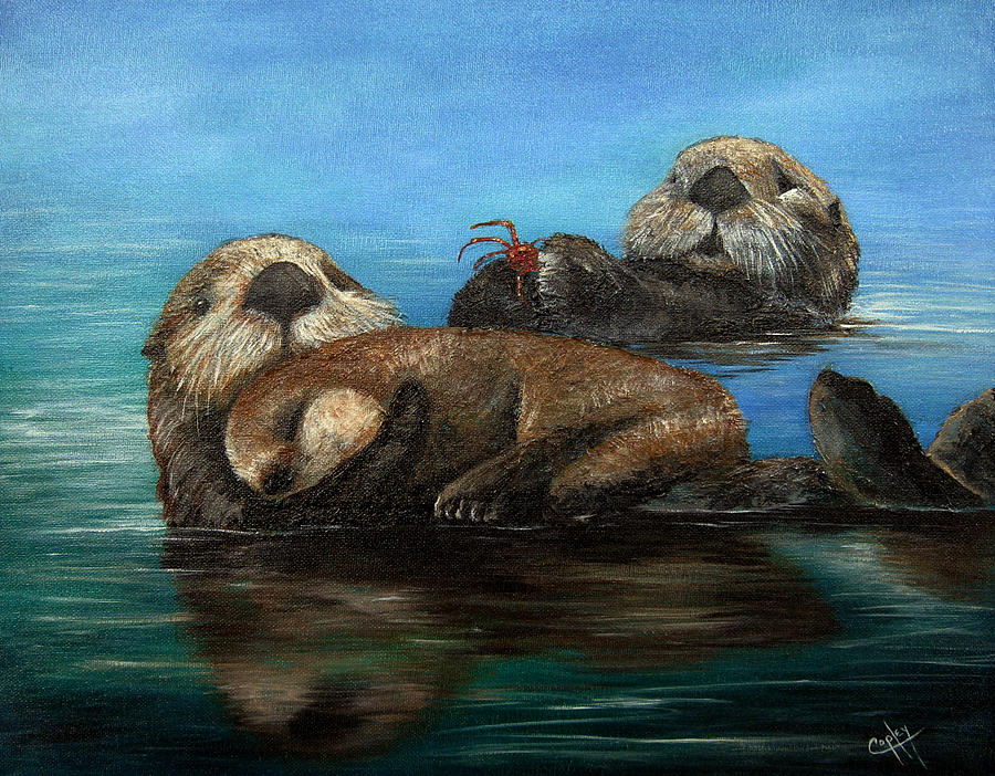 Otters Painting - Sea Otters by Karen Copley