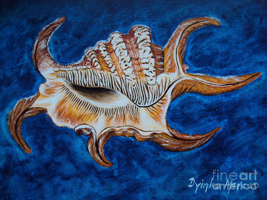 Modern Art Shell Painting - Sea Shell Original Painting Oil On Canvas No.3. by Drinka Mercep