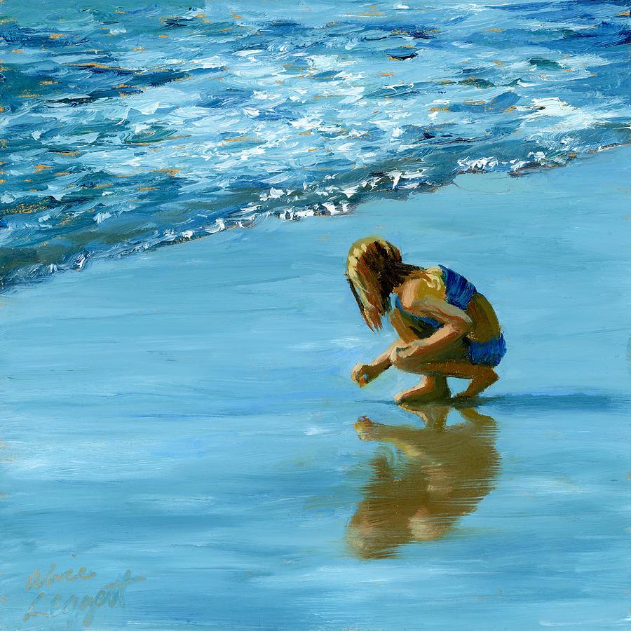 Beachcomber Painting - Sea Shell Seeker by Alice Leggett