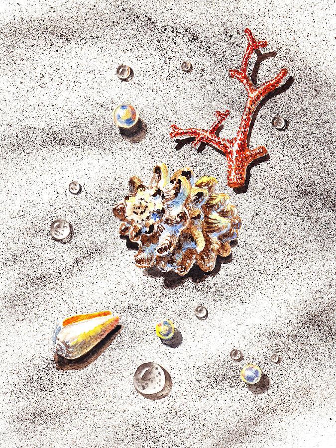Seashell Painting - Sea Shells Pearls Water Drops And Coral by Irina Sztukowski