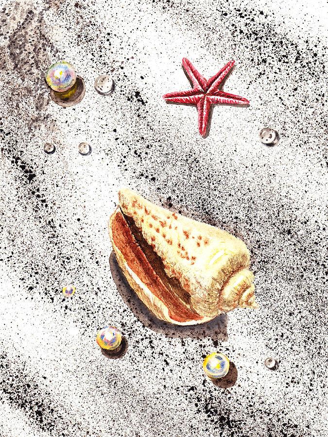 Seashell Painting - Sea Shells Pearls Water Drops And Seastar  by Irina Sztukowski
