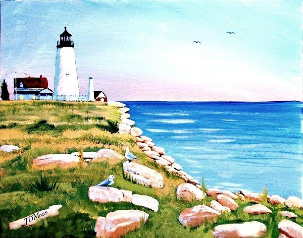 Lighthouse Painting - Sea Shore by Janet Moss