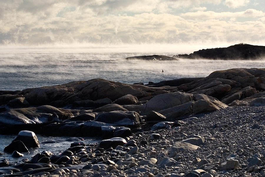 Landscape Photograph - Sea-smoke At Schoodic by Brent L Ander