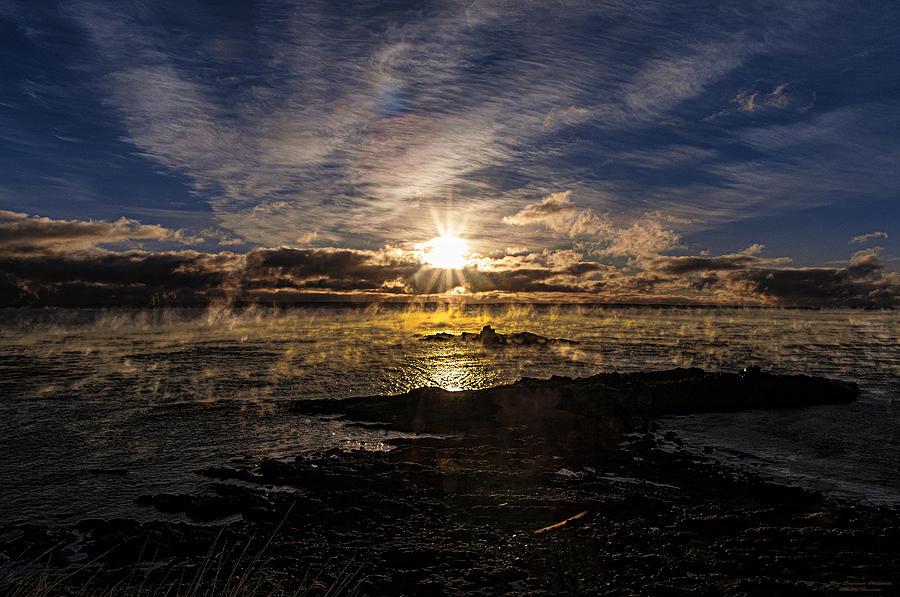 Seascape Photograph - Sea Smoke Panorama by Marty Saccone