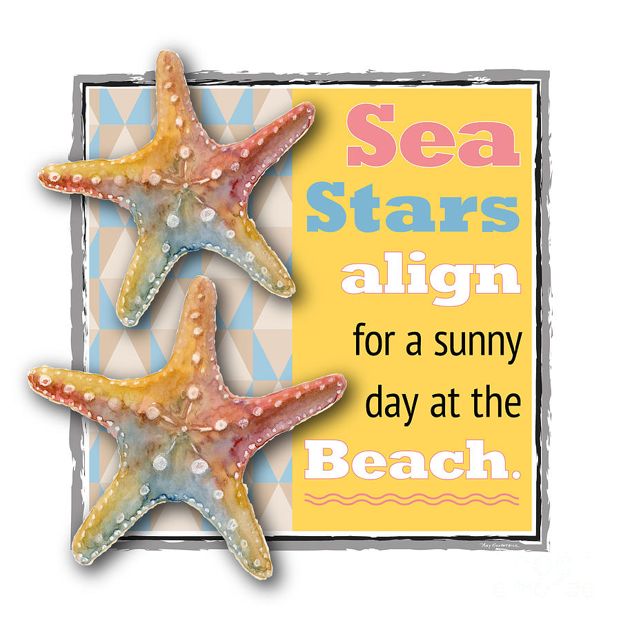 Sea Stars Align For A Sunny Day At The Beach. Painting