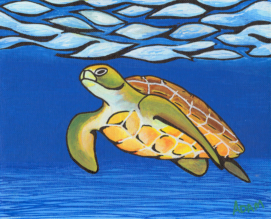 Sea Painting - Sea Turtle by Adam Johnson