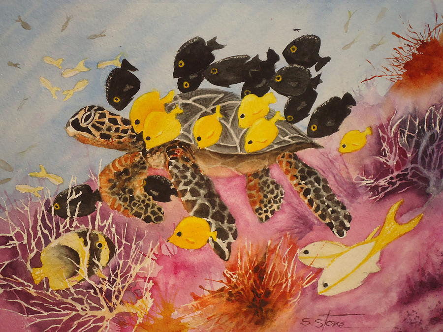 Sea Turtle Painting - Sea Turtle and Friends by Sandra Stone