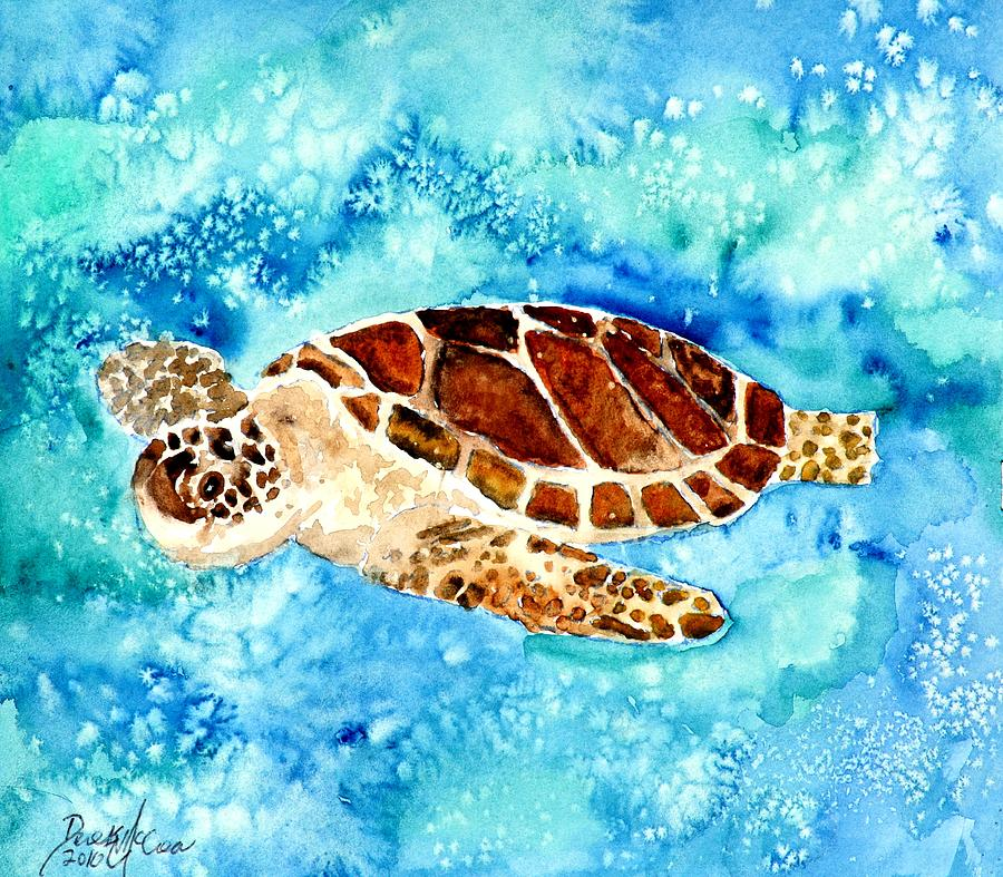 Sea Turtle Painting - Sea Turtle by Derek Mccrea