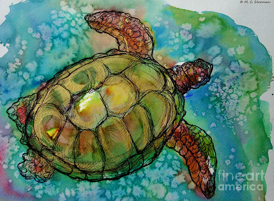 Sea Turtle Painting - Sea Turtle Endangered Beauty by M C Sturman