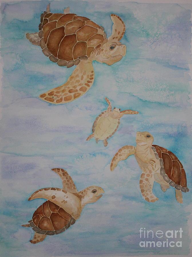 Sea Turtles Painting - Sea Turtle Family by Carol Fielding