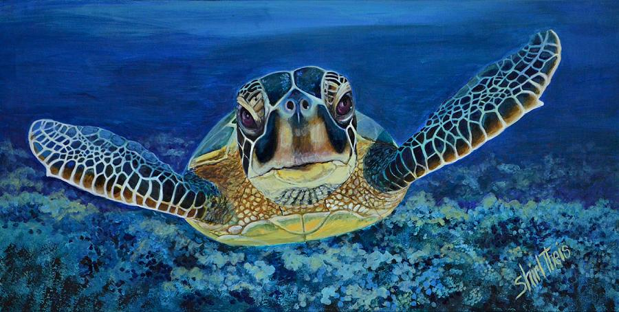 Waterscape Painting - Sea Turtle by Shirl Theis