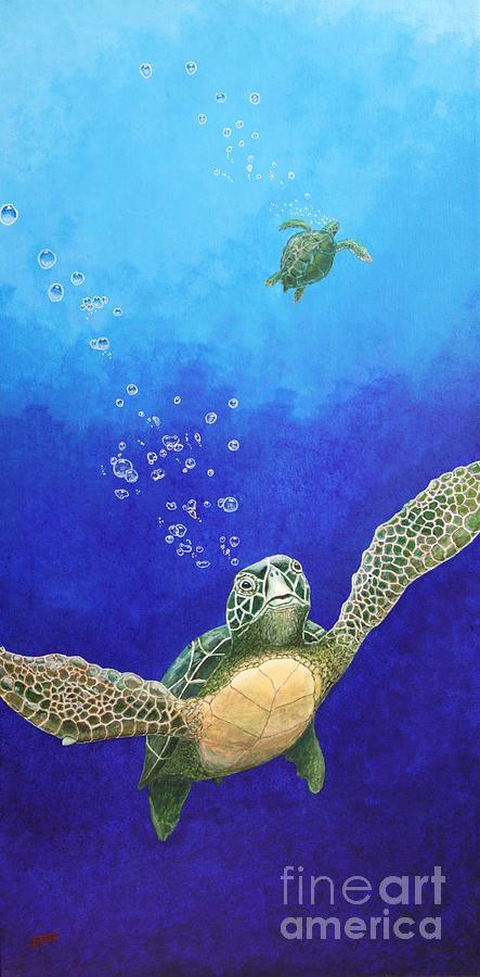 Sea Turtles Painting - Sea Turtles by Fred-Christian Freer
