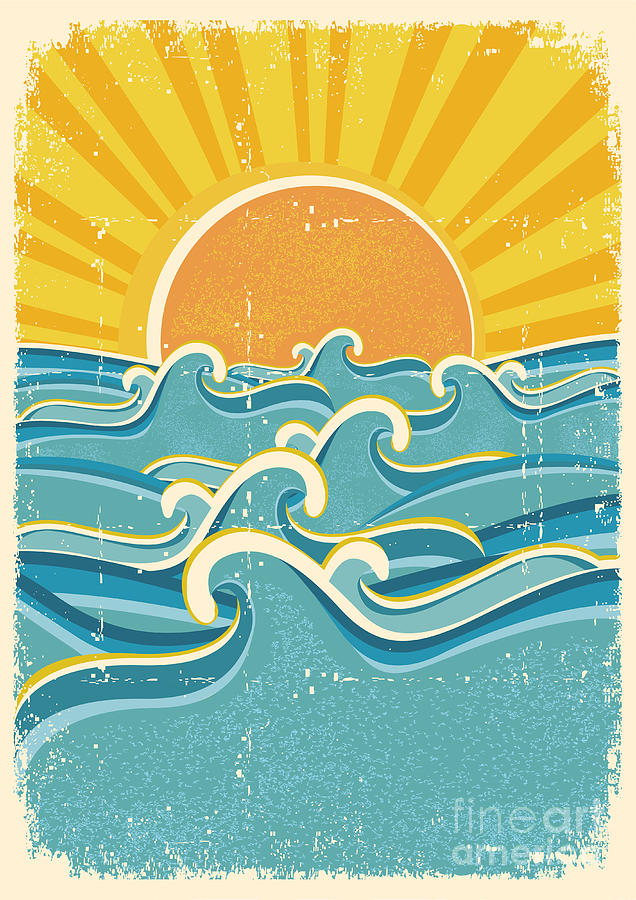 Symbol Digital Art - Sea Waves And Yellow Sun On Old Paper by Tancha