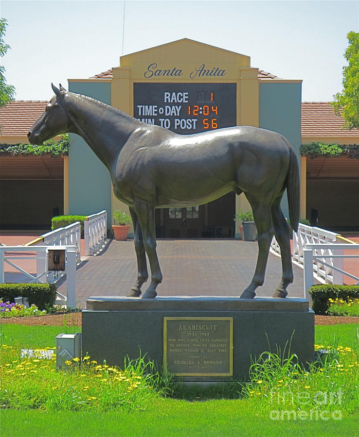 Seabiscuit Statue At Santa Anita Race Track Photograph By