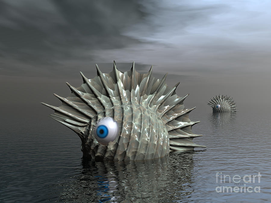 Monsters Digital Art - Seafood For Lunch by Phil Perkins