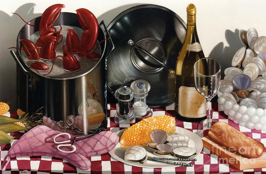Lobsters Painting - Seafood Serenade 1996  Skewed Perspective Series 1991 - 2000 by Larry Preston