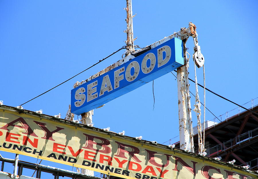 Seafood Photograph - Seafood Sign by Valentino Visentini