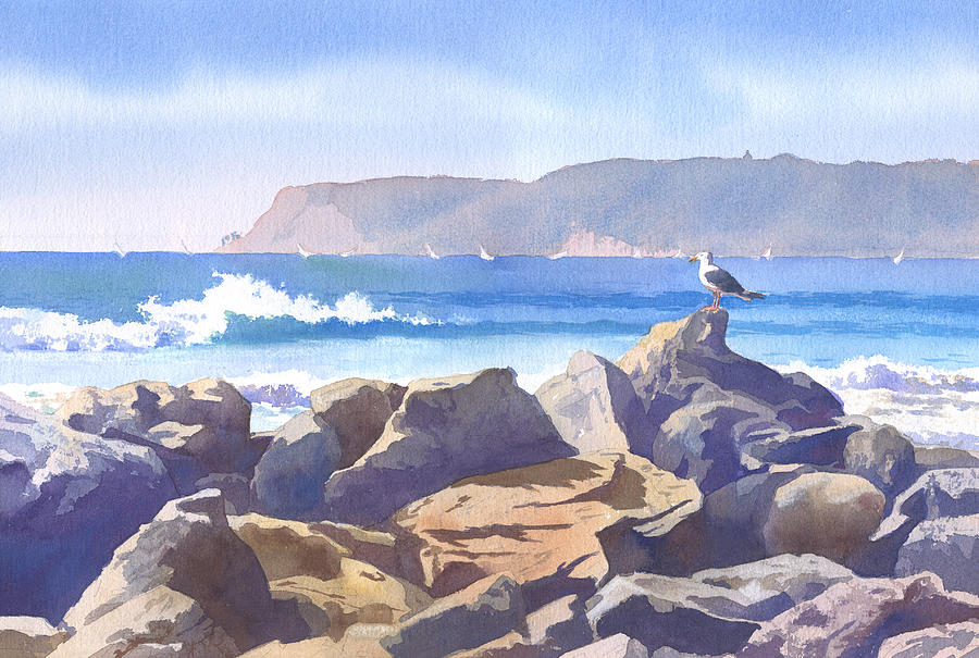 Seagull Painting - Seagull And Point Loma by Mary Helmreich