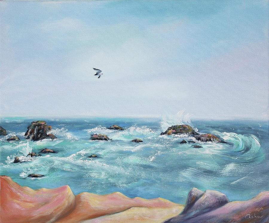 Oil On Canvas Painting - Seagull Over The Ocean by Asha Carolyn Young