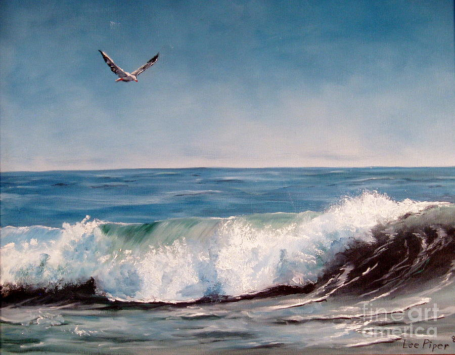 Seagull With Wave Painting By Lee Piper