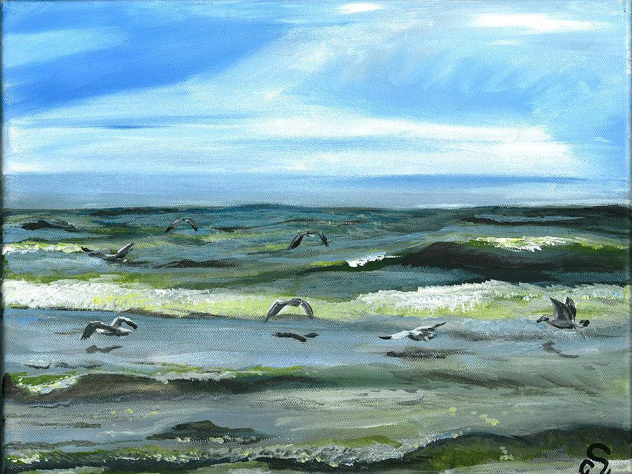 Seascape Painting - Seagulls At Play by Sarah Lowe